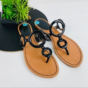 Calvin Klein O ring Patent Thong Sandal
